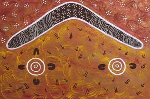 The boomerangs represent the returning of everything. The circle is the waterhole. The lines and earth colours are the land.